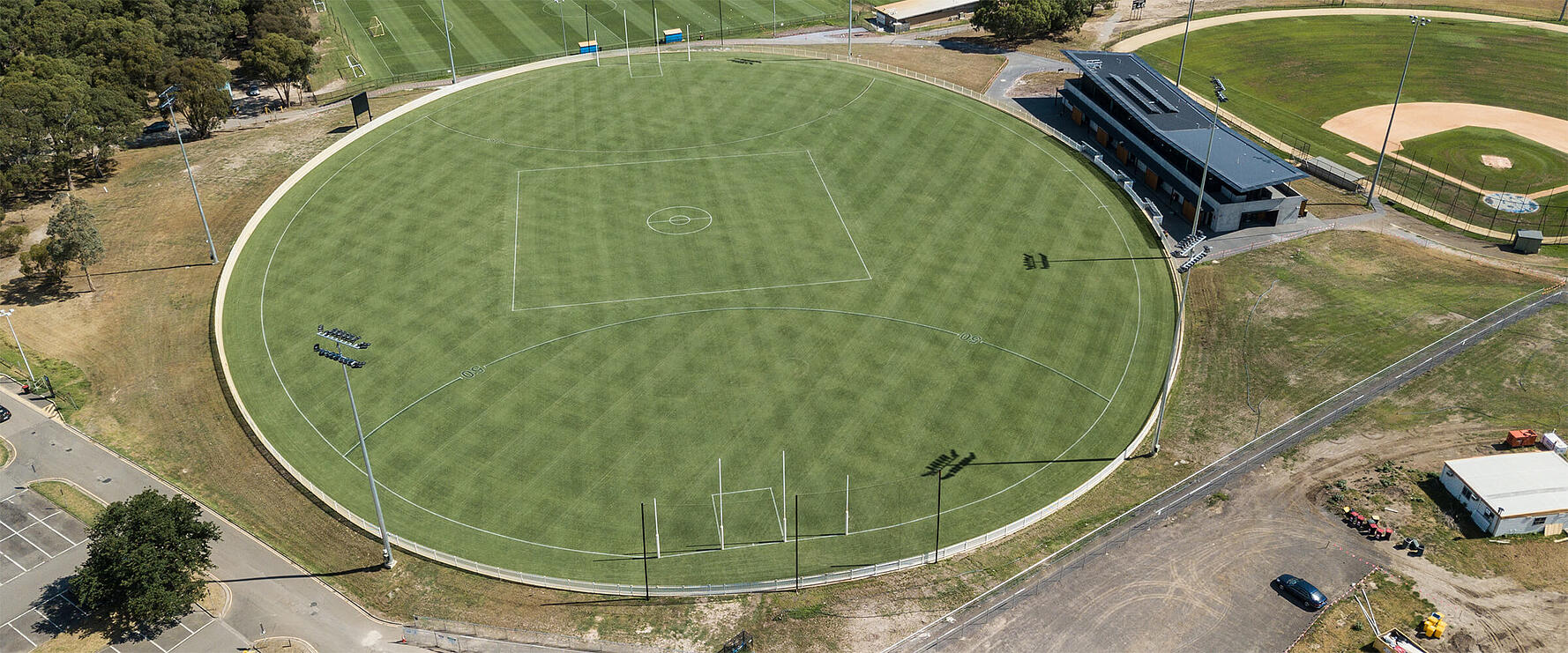 Aerial view of the La Trobe University natural turf AFL oval Field of Play