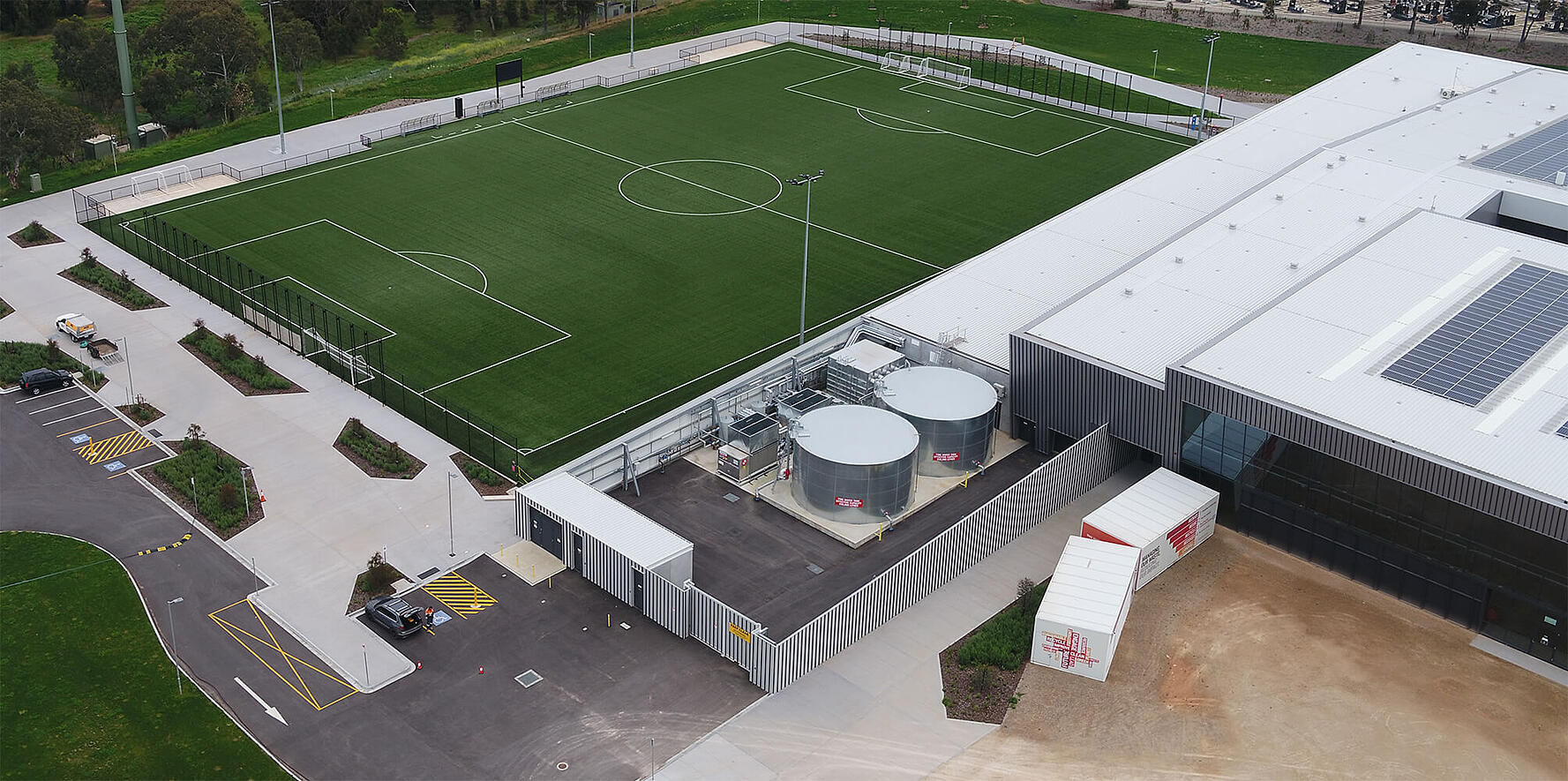 Aerial view of the La Trobe University synthetic turf soccer Field of Play